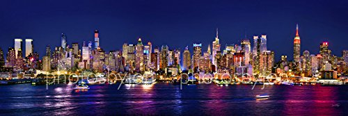 Skyline Poster (New York City Manhattan Midtown Skyline PHOTO PRINT UNFRAMED NIGHT COLOR NYC 11.75 inches x 36 inches Photographic Panorama Print Photo Picture Standard Size)