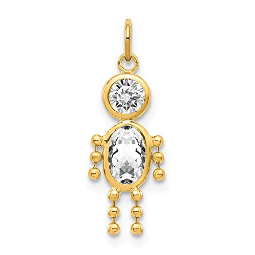 14k Yellow Gold April Boy Birthstone Pendant Charm Necklace Kid Fine Jewelry Gifts For Women For Her ()