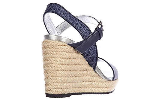 shoes women's wedges blu Hogan sandals h266 leather Rqf1x14wE