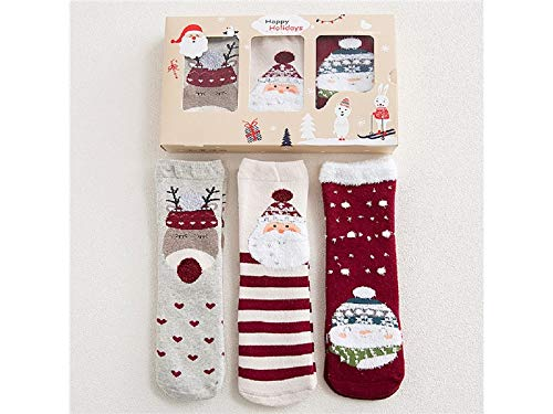 Gelaiken World Christmas 3 Pairs Children Cotton Socks Kids Autumn and Winter Christmas Terry Mid Tube Socks(Multicolor) (Color : Multicolor, Size : One Size) by Gelaiken