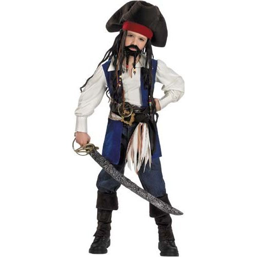 Childs Deluxe Captain Jack Sparrow Costume, Boys Medium (Size 7-8) (48-60 lbs) (48-51inches)