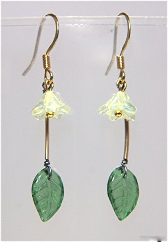 Spring Sprig Earring - Light Yellow Bell Flower, Tourmaline Green Delicate Glass Leaf, Gold Filled Noodle Bead, 1.25-in