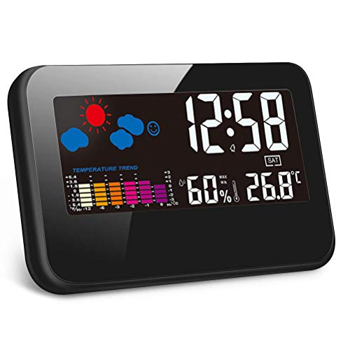LETOUCH Digital Calendar Alarm Clock, LCD Color Display Screen with Temperature and Humidity Monitor, Temperature Trend Diagram Display Alarm, Sensor and Backlight Function