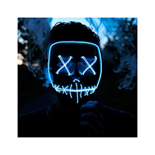 Halloween Mask Cosplay LED Mask Purge Mask Frightening Light Up Mask for Festival Parties Cosplay Costume Mask (ICE Blue) ()