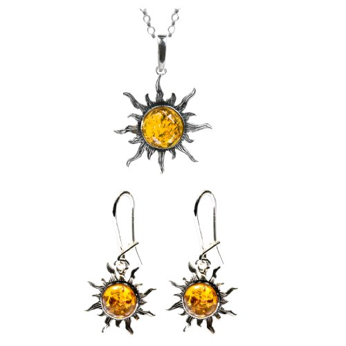 Honey Amber Sterling Silver Flaming Sun Set Earrings Necklace 18 (Amber Sun Necklace)