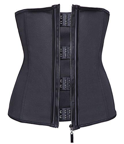 MISSMOLY Women's Shaperwear Zipper&Hook Waist Training slimming Corset Underbust Plus Size,Black,L Corsets Plus Sizes