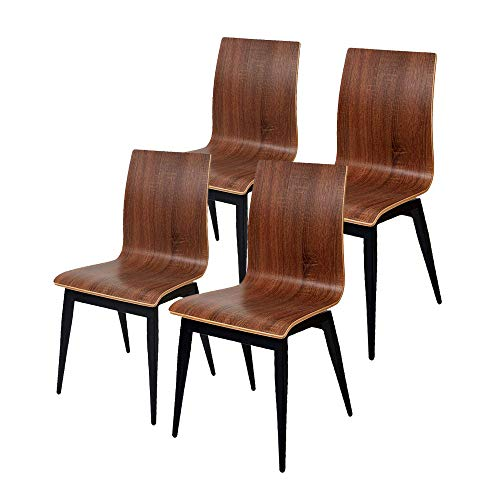 en Dining Chairs Set of 4,Stackable Wooden Seat Side Chairs Sturdy Metal Legs,Perfect for Home Kitchen Living Room Restaurant Bistro Cafe,Dark Brown ()