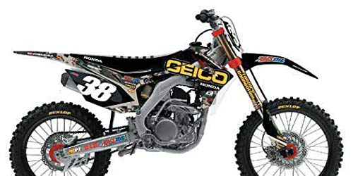 13-16 HONDA CRF450R: D'COR Visuals 17 Geico Honda Camo Replica Complete Graphic Kit (WHITE - Honda Replica Graphic