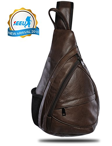 Leather Sling Bag Backpack, Multipurpose Outdoor Chest Bag Crossbody Bag for Men & Women - Sling Backpack Leather