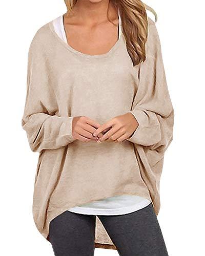 Yidarton Womens Summer Sweater Casual Shirts Oversized Baggy Off-Shoulder Long Sleeve Tops Beige M