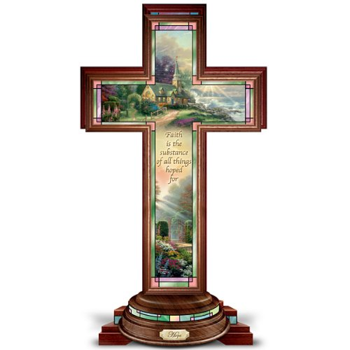 Hope Cross: Thomas Kinkade Illuminated Stained Glass-Style Hope Cross by The Bradford - Cross Illuminated