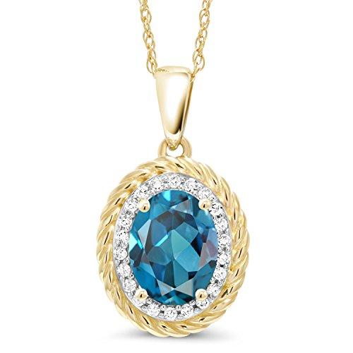 Gem Stone King 1.45 Ct Oval London Blue Topaz White Diamond 14K Yellow Gold Pendant ()