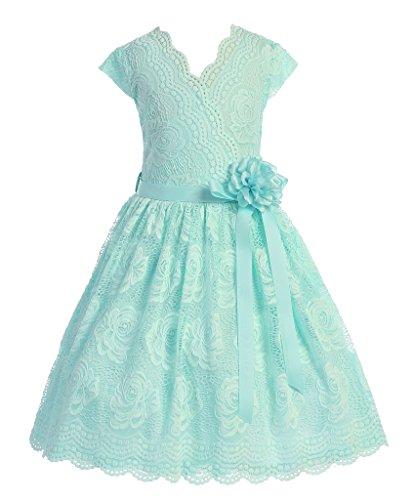 iGirlDress Big Girls Floral Design Lace Easter/Spring Dress Mint 10 -