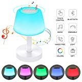 Ranipobo Night Light Bluetooth Speakers, Touch Control Table Lamp & Portable Stereo Speaker, Dimmable Warm White Light & 5 Colors Led Themes Bedside Lamp for Baby Nursery, Kids, Bedroom, Reading