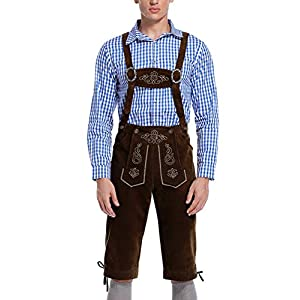 GloryStar Lederhosen Men German Bavarian Oktoberfest Leather Trousers Costume