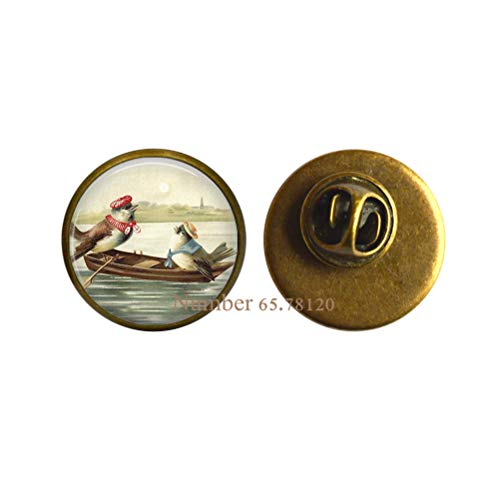 Birds on Rowboat Brooch,Inspirational Jewelry,Graduation Gift,Dainty Brooch,BV100 (V2)