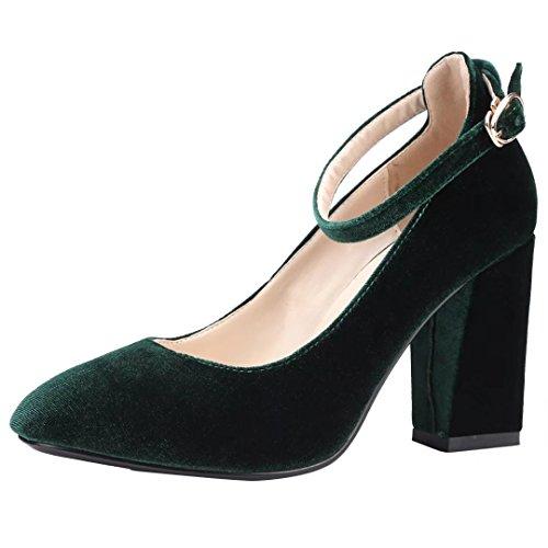 AIYOUMEI Damen Blockabsatz High Heels Pumps mit Knöchelriemchen und Schnalle Samt Schuhe Grün
