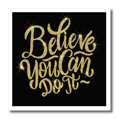 3dRose Anne Marie Baugh T-Shirts Quotes Believe You Can Do It Quote in an Image of Gold Glitter