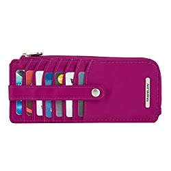 Travelon Women's Tailored Corner Zip Slim Wallet, Plumrose