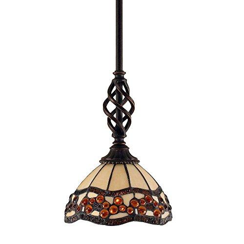 Toltec Lighting 80-DG-9975 Elegante Mini Pendant with Hang Straight Swivel with 7″ Roman Jewel Tiffany Glass, Dark Granite Finish