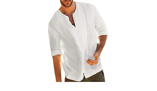 AG&T Camisa Hombre Blusa Suelta Casual Transpirable Top de ...