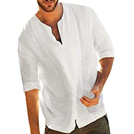 Winkey Men's Tshirt, Men's Baggy Cotton Linen Solid Color 3/4 Sleeve V Neck T Shirts Tops Blouses