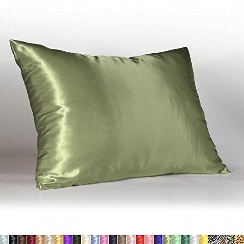 Sweet Dreams - Blissford Luxury Satin Pillowcase with Zipper, King Size, Sage (Silky Satin Pillow Case for Hair) By Shop Bedding (1-Pack) (Satin Sage Green)
