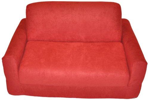 - Fun Furnishings Sofa Sleeper, Red Micro Suede