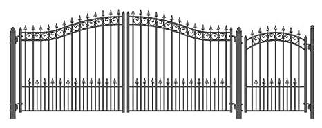 ALEKO SET12X4VEND Venice Style Galvanized Dual Swing Steel Gate Set Driveway Security Gate /& Pedestrian Gate Black