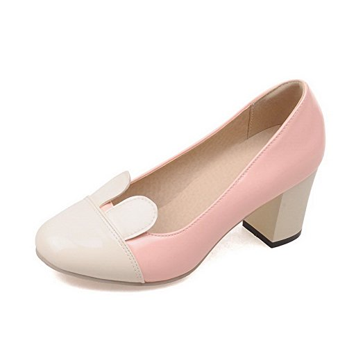 WeenFashion Women's Patent Leather Kitten Heels Round Toe Assorted Color Pull On Pumps-Shoes, Pink, 38