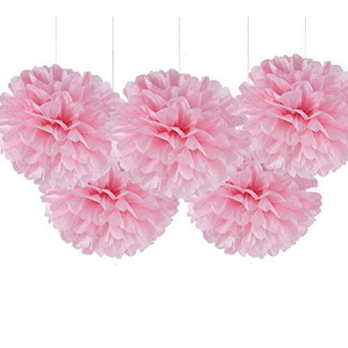 "16"" Pink Tissue Paper Flower Pom Poms, Hanging Party Decorations, Pack of 5"