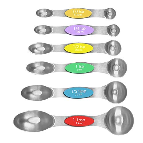 Measuring Spoons, Magnetic Stainless Steel Kitchen Spoons Dual Sided for Measuring Dry and Liquid Ingredients, Set of 6
