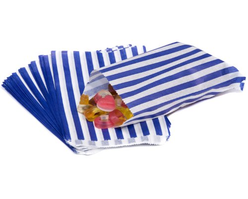 bag it Plastics Blue Candy Stripe Paper Sweet Bags 5″ x 7″ – Pack of 50