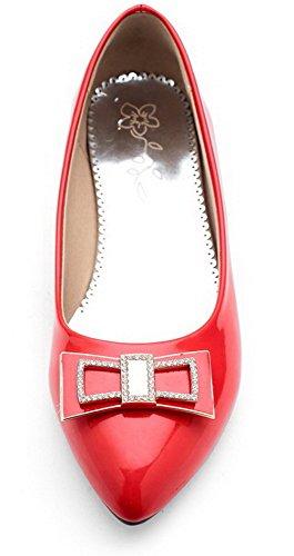 Odomolor Women's Low-Heels Patent Leather Solid Pumps-Shoes Red fCQTeS9JZ