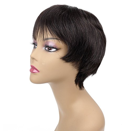 [Ty.Hermenlisa 100% Real Virgin Brazilian Remy Human Hair Wigs for Black Women Natural Color Wavy Short Bobs Hairpieces with Elastic Strap, 66g Natural] (70s Look For Women)