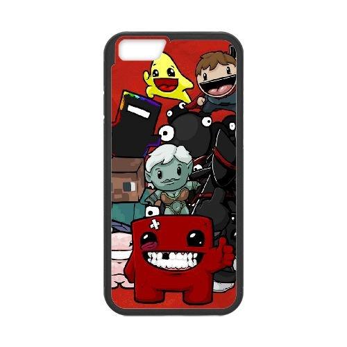 Super Meat Boy Characters Smile Look 22335 coque iPhone 6 Plus 5.5 Inch cellulaire cas coque de téléphone cas téléphone cellulaire noir couvercle EEECBCAAN07072