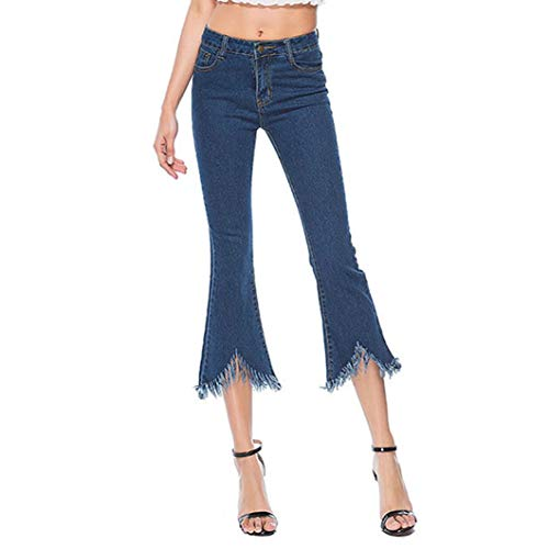 Womens Skinny Bell-Bottoms Stretch Slim Pants Calf Length Denim Flare Jeans ()