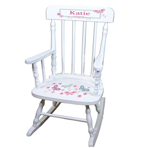 MyBambino Personalized White Childrens Rocking Chair with Aqua Butterflies Design ()