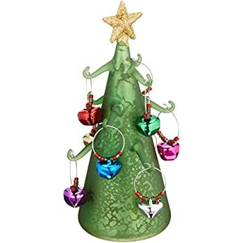 pavilion gift company holiday hoopla light up wine charm tree with 9 bell green - Glass Christmas Tree With Lights