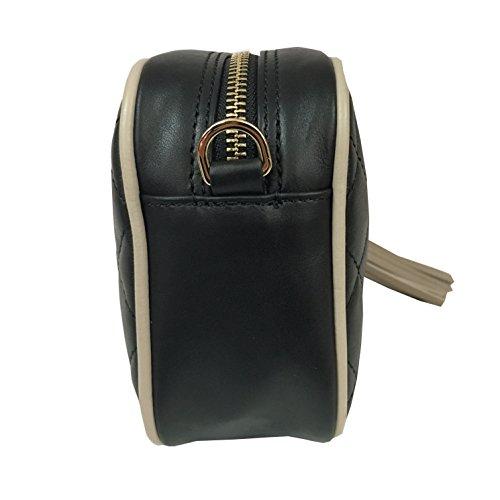 AVENUE67 borsa donna nero con profilo taupe mod BON BON 100% pelle MADE IN ITALY