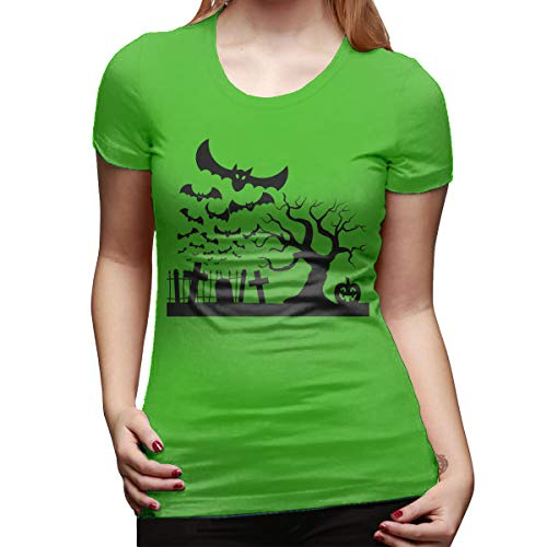 Halloween Graveyard Desserts (PORRO Personalized Halloween Graveyard Bats Pumpkin O-Neck Funny Shirt for Ladies Green)