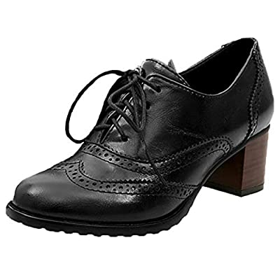 DecoStain Women's Medallion Pointed Toe Block Heel Oxfords Ladies Casual Vintage Shoes