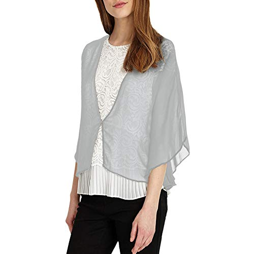 - Soft Sheer Chiffon Wraps Shrug for Evening Party Open Front Oversized Capes by Lansitina (W41 Silver)