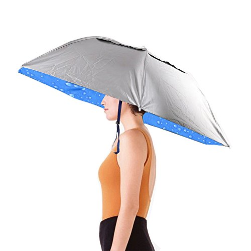 "(Hand Free Umbrella Hat Waterproof Elastic for Fishing Gardening 36""Diameter Folding Headwear)"