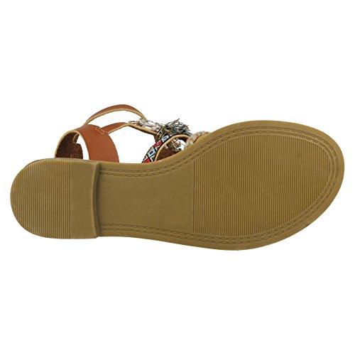 Savannah Ladies Flat Strappy Beaded Sandals Tan (Brown) dAVfT