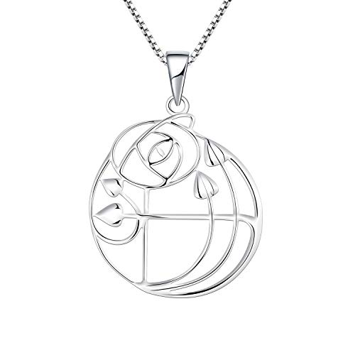 (YL Rose Necklace 925 Sterling Silver Charles Rennie MacKintosh Glasgow Rose Pendant Necklace for Women Ladies Girls Girlfriend)
