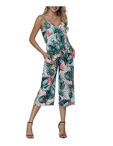 QueenBoutique Women's Sexy Off Shoulder Floral Ruffles Top Strapless High Waist Wide Leg Jumpsuits Rompers (L, Floral d)