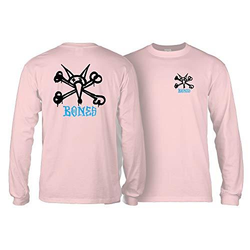 Powell-Peralta Skateboard Long Sleeve Shirt Rat Bones Light Pink Size M