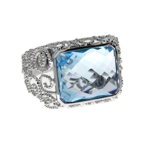 14K White Gold Large 12x15 mm Octagon Blue Topaz Semi Precious Ring. Size (Gold Large Octagon Gemstone)