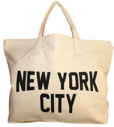 NYC Zippered Tote Bag 100% Cotton Canvas New York City Beach Shopping Gym